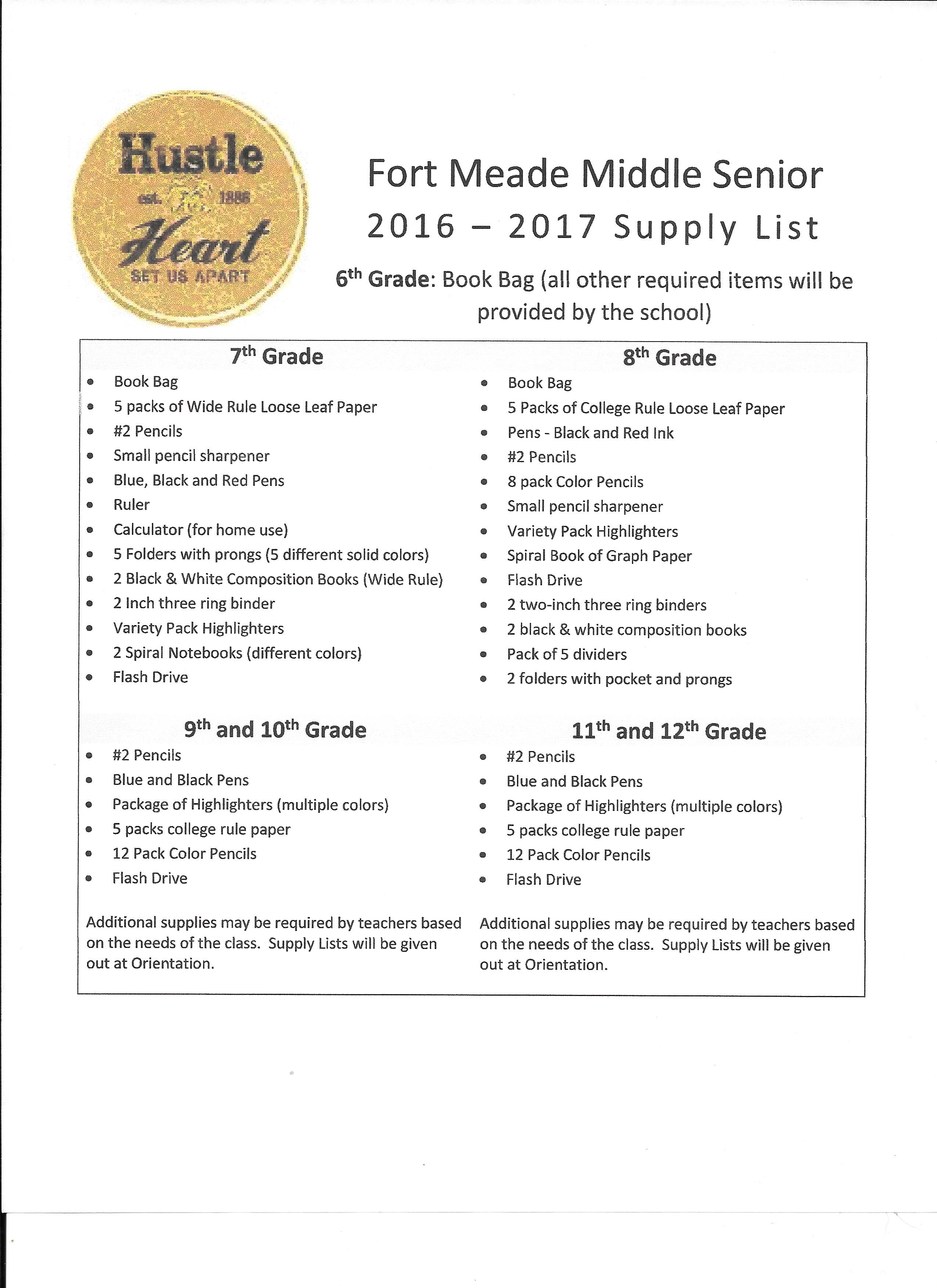 2016 / 2017 Fort Meade Middle Senior School Supply List – Ft  Meade